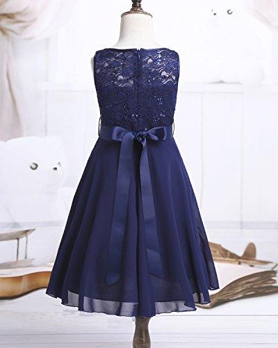 iEFiEL Sweet Prinzessin Lace Blumenmädchenkleider für Hochzeits Brautjungfern Festzug Partei Festliches Kleid Gr. 92-170 A Marineblau 164 - 5