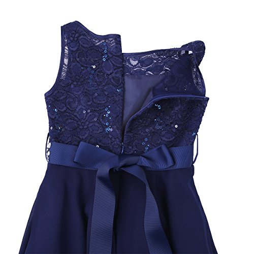 iEFiEL Sweet Prinzessin Lace Blumenmädchenkleider für Hochzeits Brautjungfern Festzug Partei Festliches Kleid Gr. 92-170 A Marineblau 164 - 7