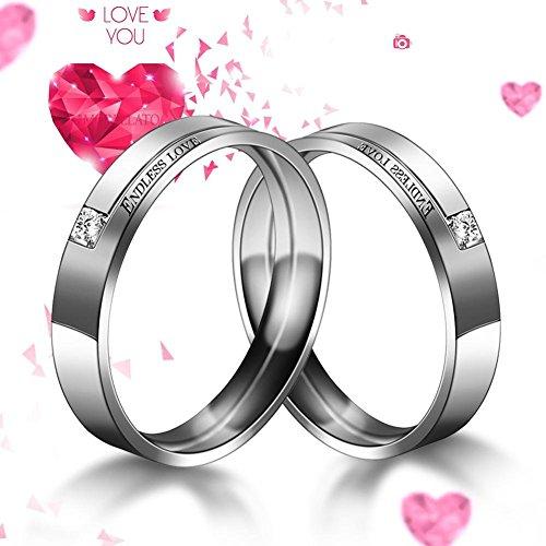 Partnerringe, Eheringe, Verlobungsringe, Titanstahl, endlose Liebe, Vintage Ringe für Sie und Ihn - 3