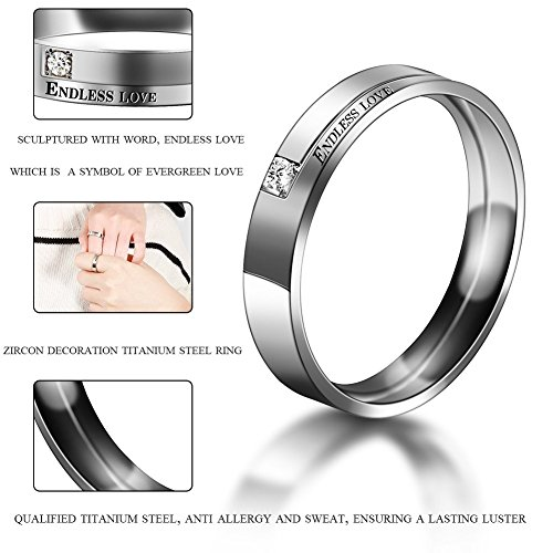 Partnerringe, Eheringe, Verlobungsringe, Titanstahl, endlose Liebe, Vintage Ringe für Sie und Ihn - 5
