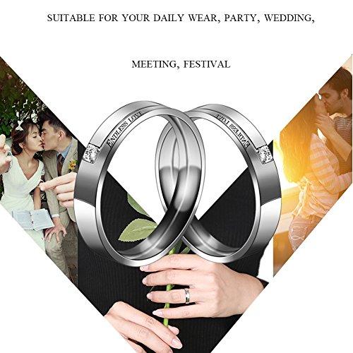 Partnerringe, Eheringe, Verlobungsringe, Titanstahl, endlose Liebe, Vintage Ringe für Sie und Ihn - 7