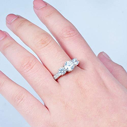 Ringe, Barlingrock Shiny Luxury Edelstein Ring Frauen Party Bankett Kostüm Schmuck Dekor Gericht Birthstone Braut Engagement Ehering - 3
