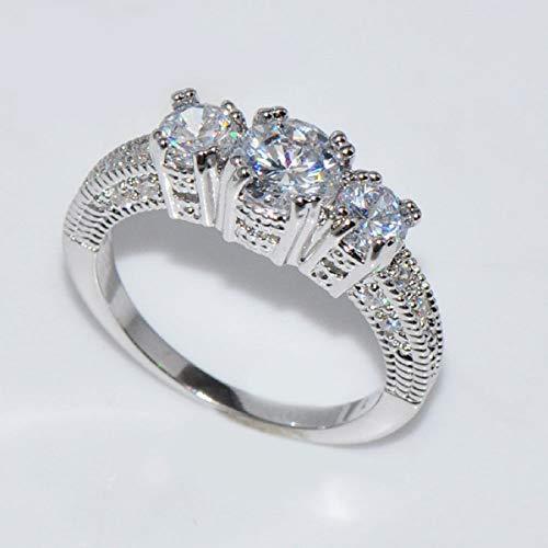 Ringe, Barlingrock Shiny Luxury Edelstein Ring Frauen Party Bankett Kostüm Schmuck Dekor Gericht Birthstone Braut Engagement Ehering - 4