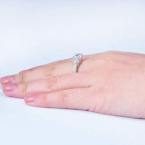 Ringe, Barlingrock Shiny Luxury Edelstein Ring Frauen Party Bankett Kostüm Schmuck Dekor Gericht Birthstone Braut Engagement Ehering - 5