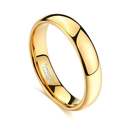 Zakk Ring Damen Herren 2mm 4mm 6mm 8mm Gelbgold Wolfram Poliert Schmal Ringe Verlobungsringe Ehering Hochzeitsband (4mm, 58 (18.5)) - 2