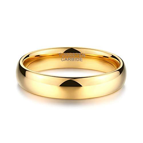 Zakk Ring Damen Herren 2mm 4mm 6mm 8mm Gelbgold Wolfram Poliert Schmal Ringe Verlobungsringe Ehering Hochzeitsband (4mm, 58 (18.5)) - 3
