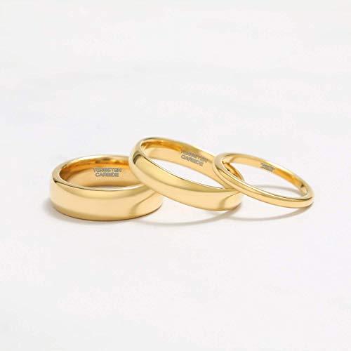 Zakk Ring Damen Herren 2mm 4mm 6mm 8mm Gelbgold Wolfram Poliert Schmal Ringe Verlobungsringe Ehering Hochzeitsband (4mm, 58 (18.5)) - 4