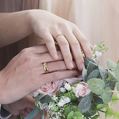 Zakk Ring Damen Herren 2mm 4mm 6mm 8mm Gelbgold Wolfram Poliert Schmal Ringe Verlobungsringe Ehering Hochzeitsband (4mm, 58 (18.5)) - 6