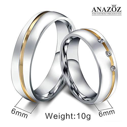 ANAZOZ Schmuck Paar Eheringe aus Edelstahl mit Zirkonia Verlobungsringe Partnerringe Männerring Gold Silber Größe 62 (19.7) (Preis nur für 1) - 3