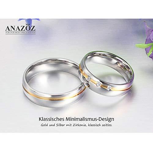 ANAZOZ Schmuck Paar Eheringe aus Edelstahl mit Zirkonia Verlobungsringe Partnerringe Männerring Gold Silber Größe 62 (19.7) (Preis nur für 1) - 5