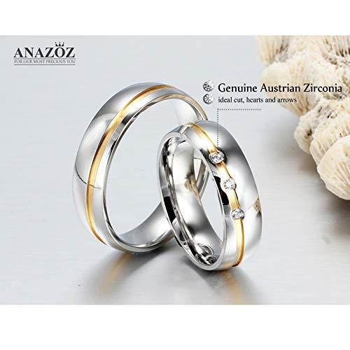 ANAZOZ Schmuck Paar Eheringe aus Edelstahl mit Zirkonia Verlobungsringe Partnerringe Männerring Gold Silber Größe 62 (19.7) (Preis nur für 1) - 6