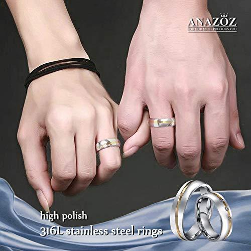 ANAZOZ Schmuck Paar Eheringe aus Edelstahl mit Zirkonia Verlobungsringe Partnerringe Männerring Gold Silber Größe 62 (19.7) (Preis nur für 1) - 7
