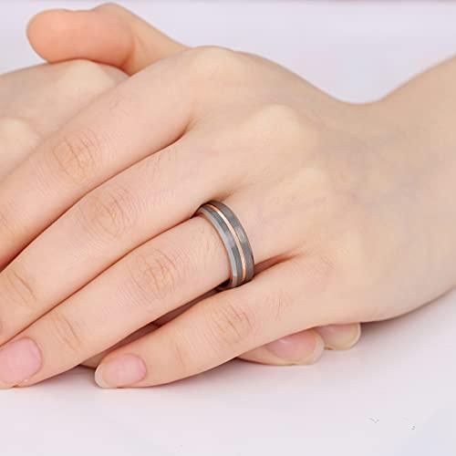 GALANI Damen Herren Ring Silber 6mm aus Wolframcarbid Eheringe Verlobungsring Paar Ringe mit Rosegold Grooved Valentinstag Schmuck Geschenk Größe 59(18.8) - 2