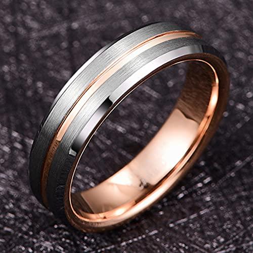 GALANI Damen Herren Ring Silber 6mm aus Wolframcarbid Eheringe Verlobungsring Paar Ringe mit Rosegold Grooved Valentinstag Schmuck Geschenk Größe 59(18.8) - 3