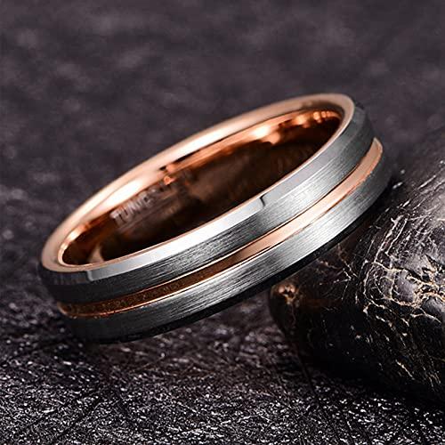 GALANI Damen Herren Ring Silber 6mm aus Wolframcarbid Eheringe Verlobungsring Paar Ringe mit Rosegold Grooved Valentinstag Schmuck Geschenk Größe 59(18.8) - 4