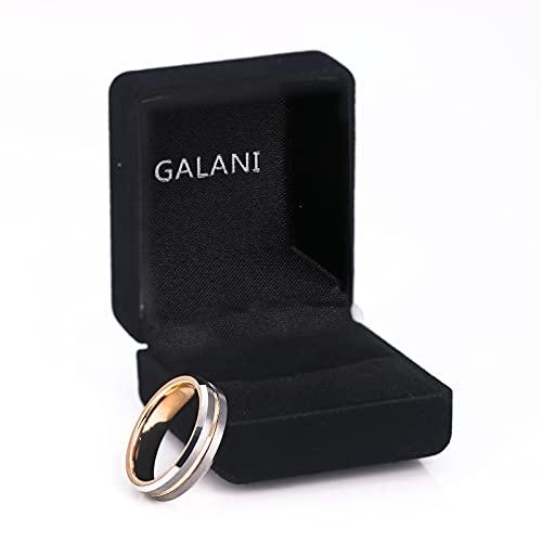 GALANI Damen Herren Ring Silber 6mm aus Wolframcarbid Eheringe Verlobungsring Paar Ringe mit Rosegold Grooved Valentinstag Schmuck Geschenk Größe 59(18.8) - 7