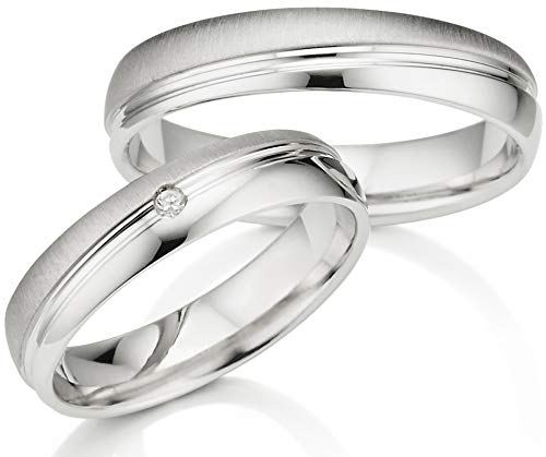 Eheringe Silber 925 in Juwelier-Qualität (Gravur/Ringmaßband/Etui/Nickelfrei/ohne Stein)
