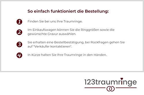 123traumringe 2x Trauringe/Eheringe Silber 925 in Juwelier-Qualität (Gravur/Ringmaßband/Etui/Nickelfrei/ohne Stein) - 2