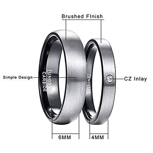 NUNCAD Herren-Ring Wolframcarbid Außenbreite 6mm bequem, Men Fashion Schmuck Ehering Verlobungsring Freundschaftsring Lifestyle-Ring Größe 63(20.1) - 5