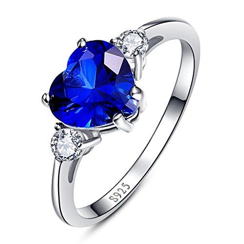 Damen Ring Blau Herz Liebe Saphir 925 Sterling Silber