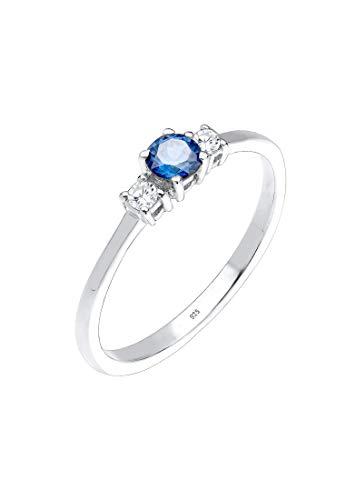 Damen Ring Zirkonia Saphirblau in 925 Sterling Silber