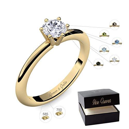Verlobungsring Gold 585 750 PERSONALISIERT + ETUI mit individueller GRAVUR