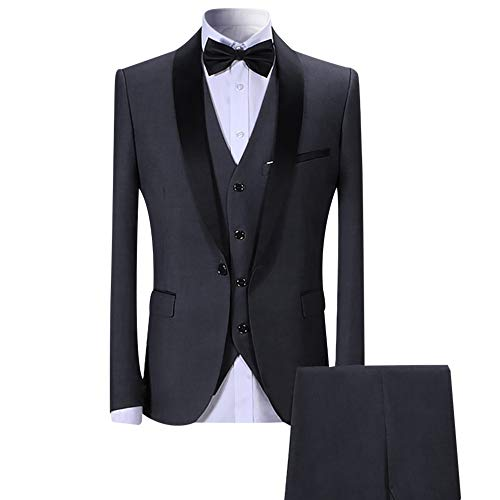 Sliktaa Herren Anzug 3 Teilig Slim Fit Reihe einfarbig Stoff Business Shawl Kragen Grau Large - 2