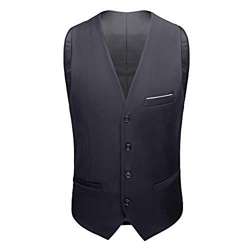 Sliktaa Herren Anzug 3 Teilig Slim Fit Reihe einfarbig Stoff Business Shawl Kragen Grau Large - 3