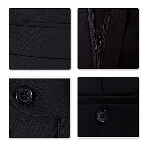 Sliktaa Herren Anzug 3 Teilig Slim Fit Reihe einfarbig Stoff Business Shawl Kragen Grau Large - 4