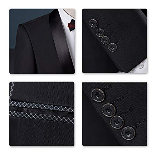 Sliktaa Herren Anzug 3 Teilig Slim Fit Reihe einfarbig Stoff Business Shawl Kragen Grau Large - 5