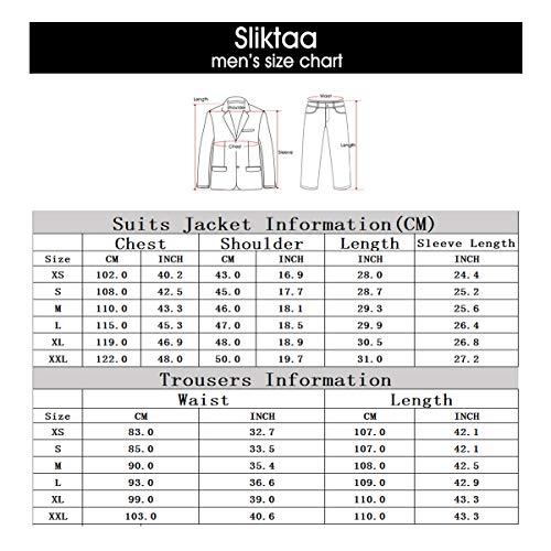 Sliktaa Herren Anzug 3 Teilig Slim Fit Reihe einfarbig Stoff Business Shawl Kragen Grau Large - 6