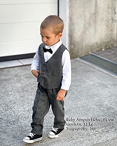 ZOEREA 4tlg Baby Jungen Bekleidungssets Hemd + Hose + Weste + Hut Fliege Krawatte Kinder Anzug Gentleman Festliche Hochzeit Langarm Body für Frühling Herbst - 3