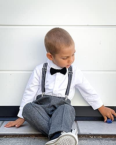 ZOEREA 4tlg Baby Jungen Bekleidungssets Hemd + Hose + Weste + Hut Fliege Krawatte Kinder Anzug Gentleman Festliche Hochzeit Langarm Body für Frühling Herbst - 4