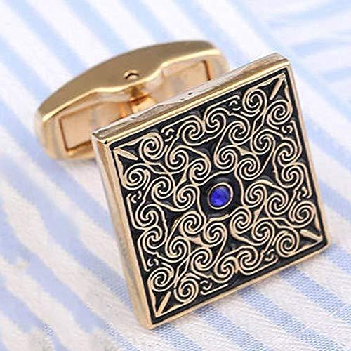 KHOBGLU Hochwertige Manschettenknöpfe Hochzeitsanzug Hemdknöpfe Blau Kristall Manschettenknöpfe Gold - 2