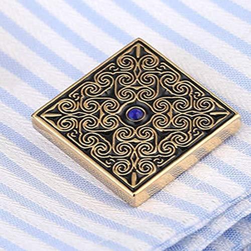 KHOBGLU Hochwertige Manschettenknöpfe Hochzeitsanzug Hemdknöpfe Blau Kristall Manschettenknöpfe Gold - 3