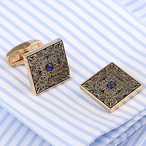 KHOBGLU Hochwertige Manschettenknöpfe Hochzeitsanzug Hemdknöpfe Blau Kristall Manschettenknöpfe Gold - 4