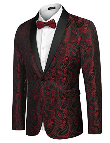 COOFANDY Herren Floral Smoking Anzugjacket Modern Luxus Stilvoll Blazer mit Blumenmuster Paisley für Abendessen, Hochzeit, Party, Abschlussball,Weinrot,M - 2