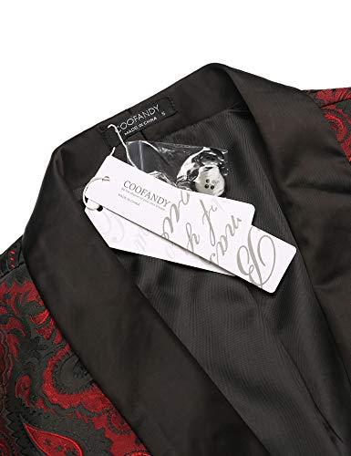 COOFANDY Herren Floral Smoking Anzugjacket Modern Luxus Stilvoll Blazer mit Blumenmuster Paisley für Abendessen, Hochzeit, Party, Abschlussball,Weinrot,M - 5