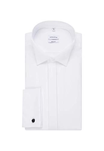 Seidensticker Herren Smoking Hemd, Weiß (01 Weiß), 40 - 4