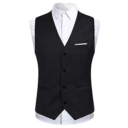 Anzug Herren Slim Fit 3 Teilig Anzüge Modern Herrenanzug 3-Teilig Sakko Hose Weste für Business - 3