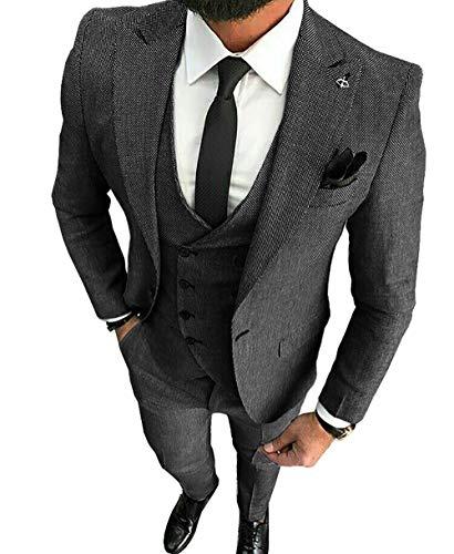 Herren Anzüge Slim Fit 3 Teilig Wolle Tweed (Schwarz, 48)