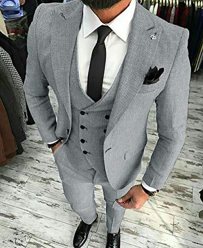 MoranX Herren Anzüge Slim Fit 3 Teilig Wolle Tweed Smoking Hochzeit Anzug Bräutigam Jacke Weste Hose Business(Schwarz,48) - 3