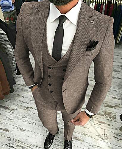 MoranX Herren Anzüge Slim Fit 3 Teilig Wolle Tweed Smoking Hochzeit Anzug Bräutigam Jacke Weste Hose Business(Schwarz,48) - 4