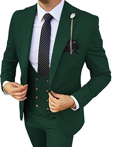 Herren Anzug Regular Fit 3 Teilig Zweireihige Smoking Komplett Dunkelgrün, 52
