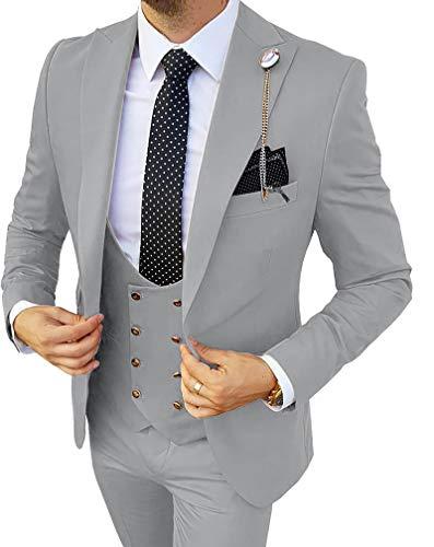 MoranX Edel Herren Anzüge Regular Fit 3 Teilig Zweireihige Smoking Hochzeit Anzug Business Jacke Weste Hose Komplett Dunkelgrün,52 - 2