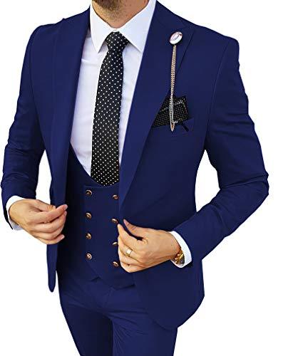 MoranX Edel Herren Anzüge Regular Fit 3 Teilig Zweireihige Smoking Hochzeit Anzug Business Jacke Weste Hose Komplett Dunkelgrün,52 - 3