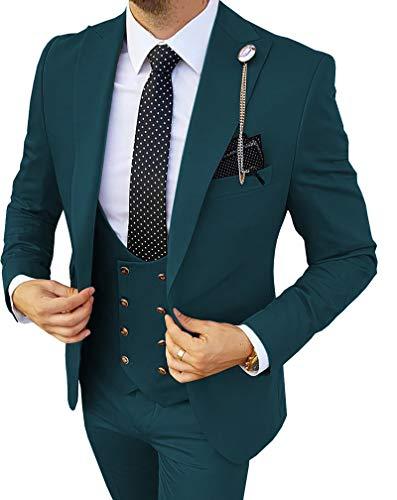 MoranX Edel Herren Anzüge Regular Fit 3 Teilig Zweireihige Smoking Hochzeit Anzug Business Jacke Weste Hose Komplett Dunkelgrün,52 - 4
