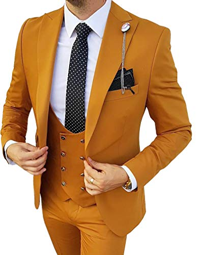 MoranX Edel Herren Anzüge Regular Fit 3 Teilig Zweireihige Smoking Hochzeit Anzug Business Jacke Weste Hose Komplett Dunkelgrün,52 - 5