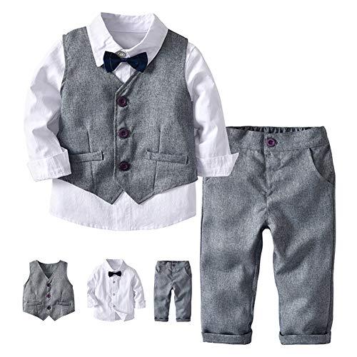 Baby Gentleman Anzug Hemd+Hose+Weste Grau 3 Jahre