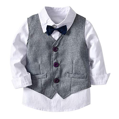 amiyan Baby Jungen Bekleidungsset Gentleman Anzug Kleinkinder Taufe Hochzeit Weihnachten Sakkos Anzüge Fliege Spielanzug Hemd+Hose+Weste Grau 3 Jahre - 3